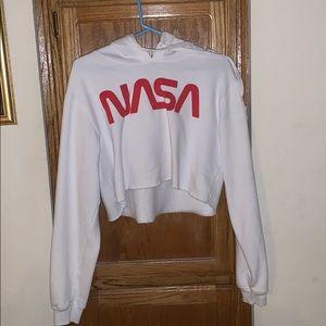LARGE WHITE CROPPED NASA HOODIE